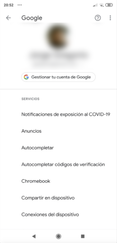 Pantalla de notificación de exposiciones al COVID-19
